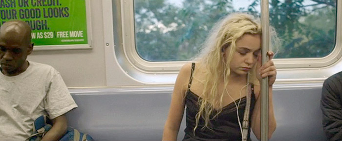 After a night of hard partying, Leah nods off on a Brooklyn-bound train.