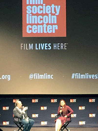 Ava DuVernay, left, talking about 13TH at a NYFF54 Q&A.