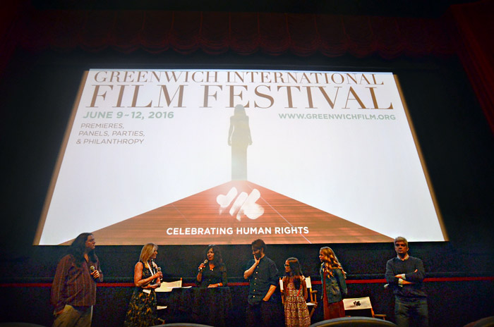 Some cast members as well as the director and writer at a Q&A after the screening.